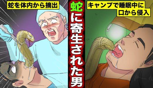 【漫画】寝ている間に蛇が口に入って行くとどうなるのか?蛇が体内に住みついた男の末路・・・