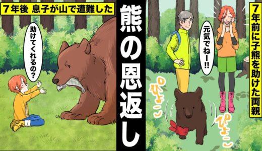 【漫画】行方不明になった5才の少年が熊に助けられて一緒に生活していた…助けた熊は7年前に少年の両親と出会っていた・・・